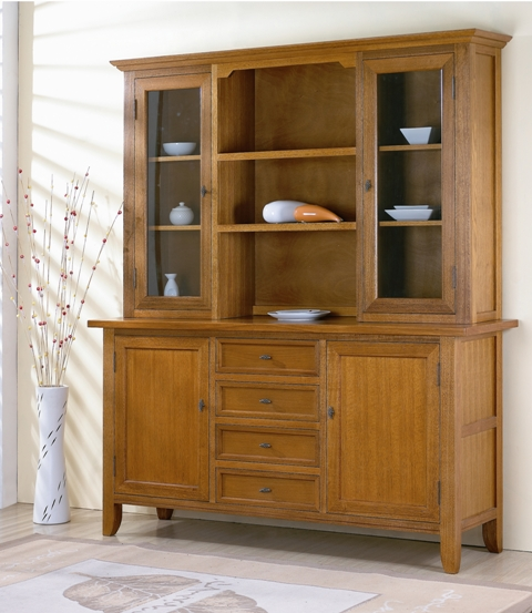 Algrove 2 Door4 Drawer2 Glass Buffet And Hutch BF0104